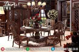Set Meja Makan Ukir Mewah Bundar Jati Terbaru MM-0439