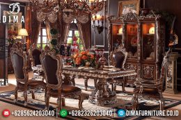 Set Meja Makan Ukir Mewah Natural Jati Terbaru MM-0438