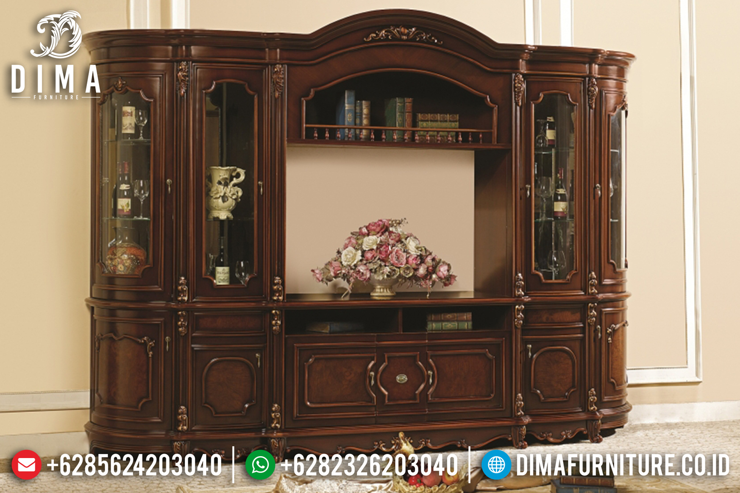 Bufet Tv Jati Mewah Natural Klasik Terbaru MM-0513