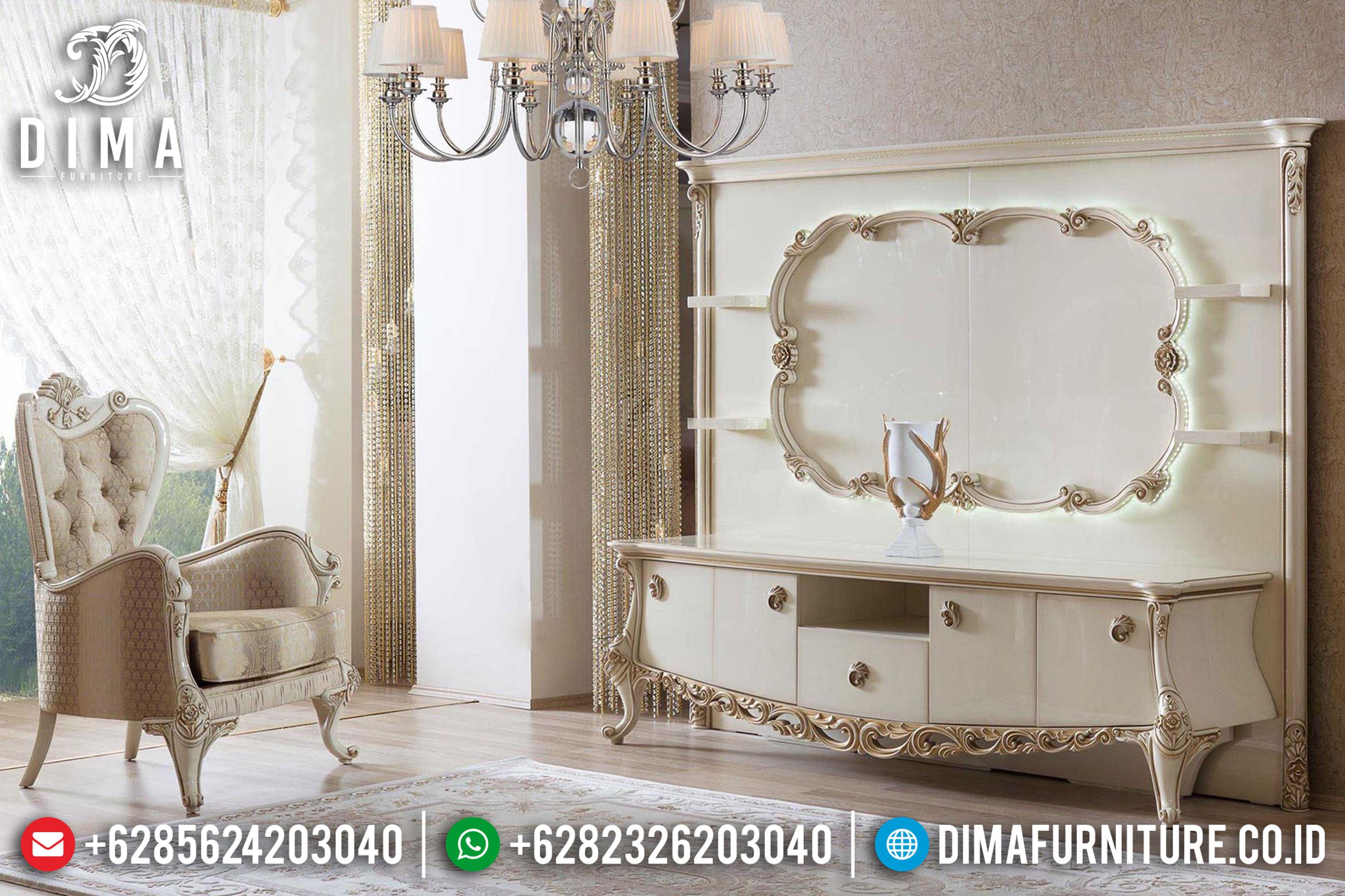 Bufet Tv Mewah Duco Putih Klasik Terbaru MM-0550