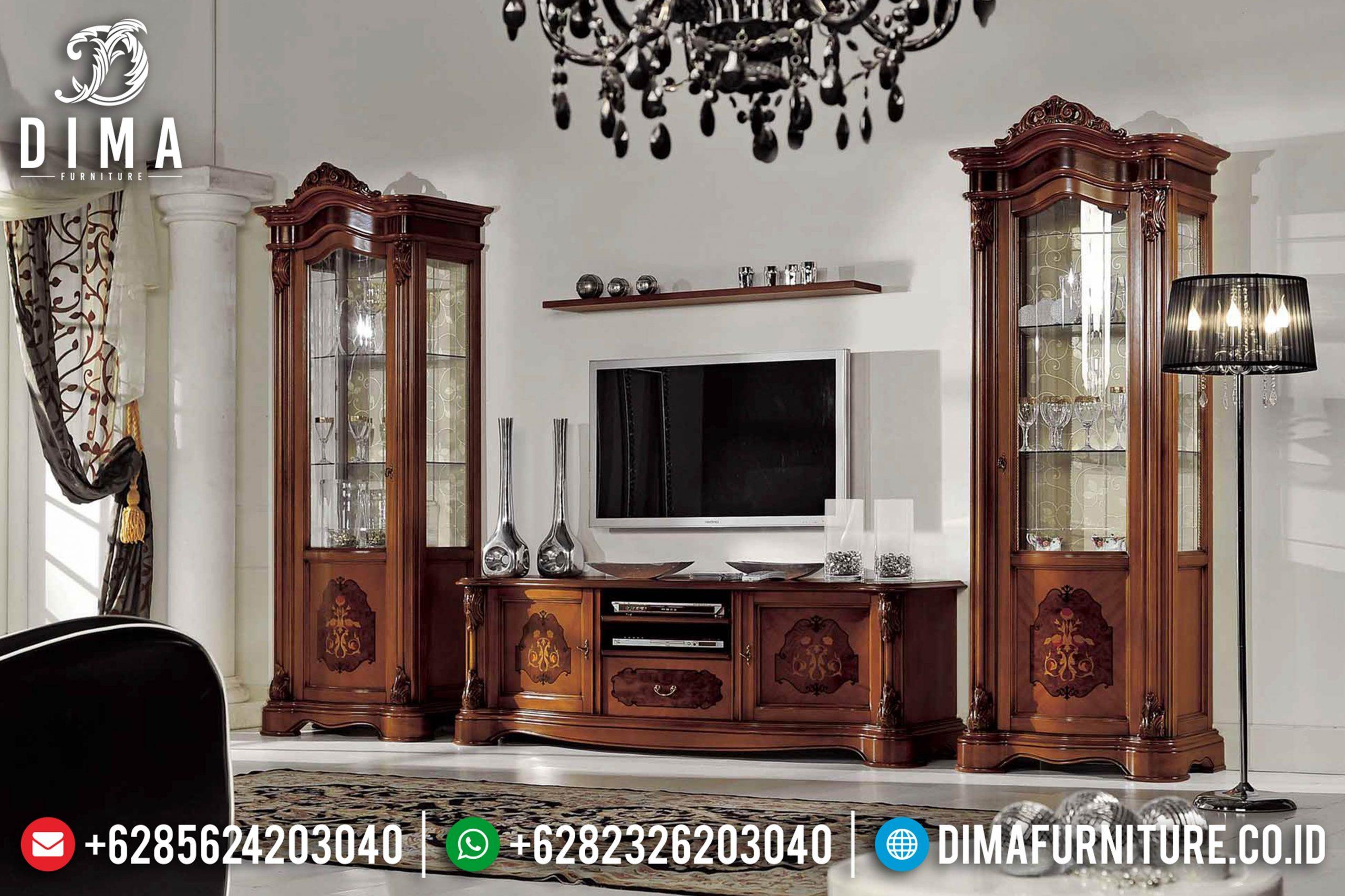 Set Bufet Tv Jati Klasik Mebel Jepara Mewah Terbaru MM-0527