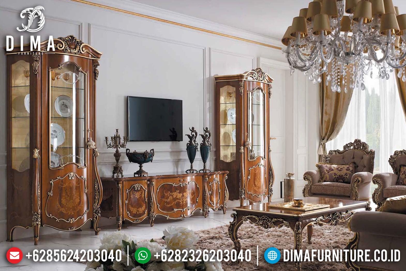 Set Bufet Tv Klasik Mewah Mebel Jepara Jati Terbaru MM-0545