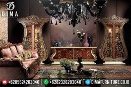 Set Bufet Tv Klasik Model Eropa Jati Mewah Terbaru MM-0529