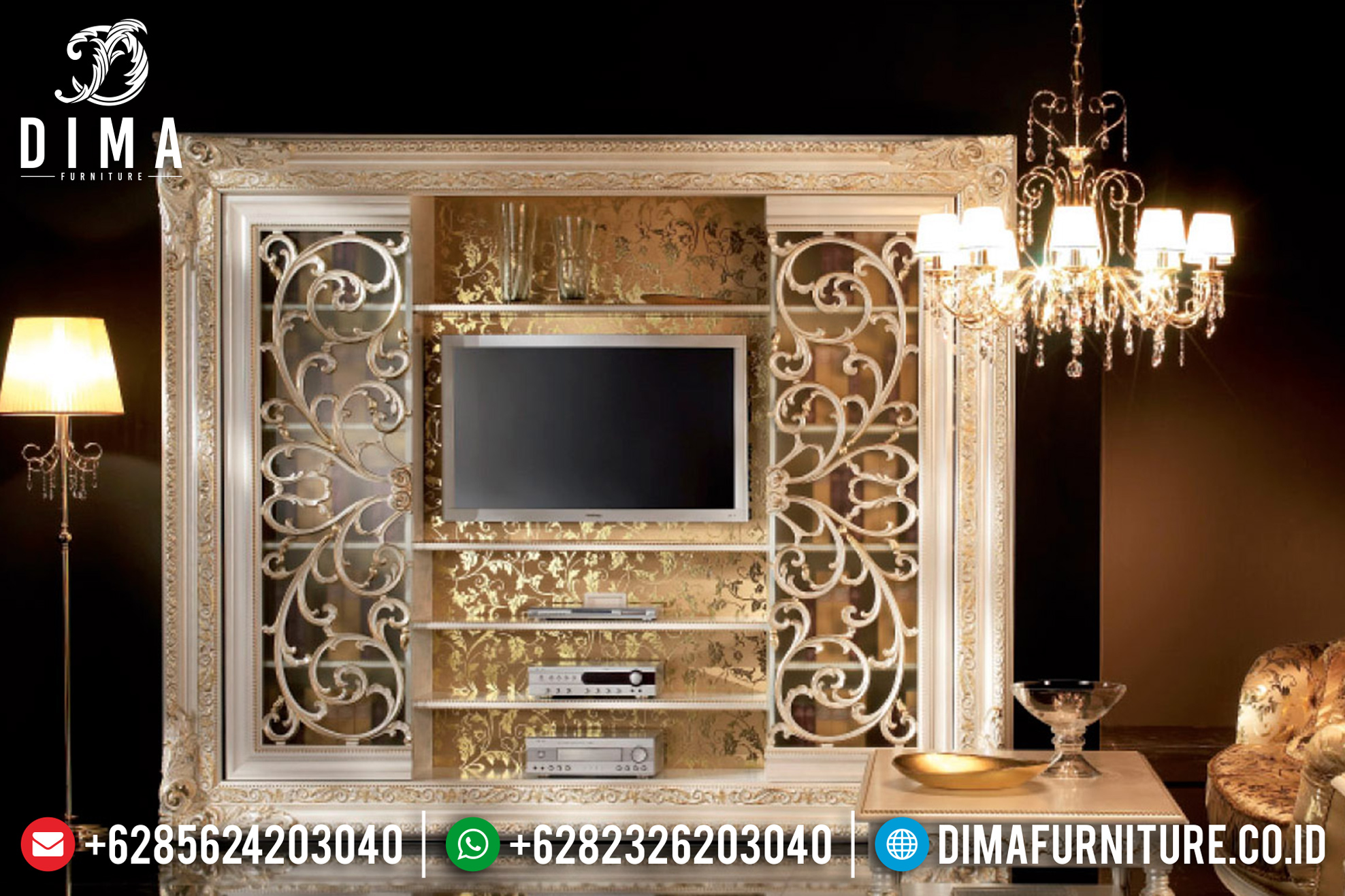 Set Bufet Tv Klasik Ukiran Mebel Jepara Mewah Terbaru MM-0552