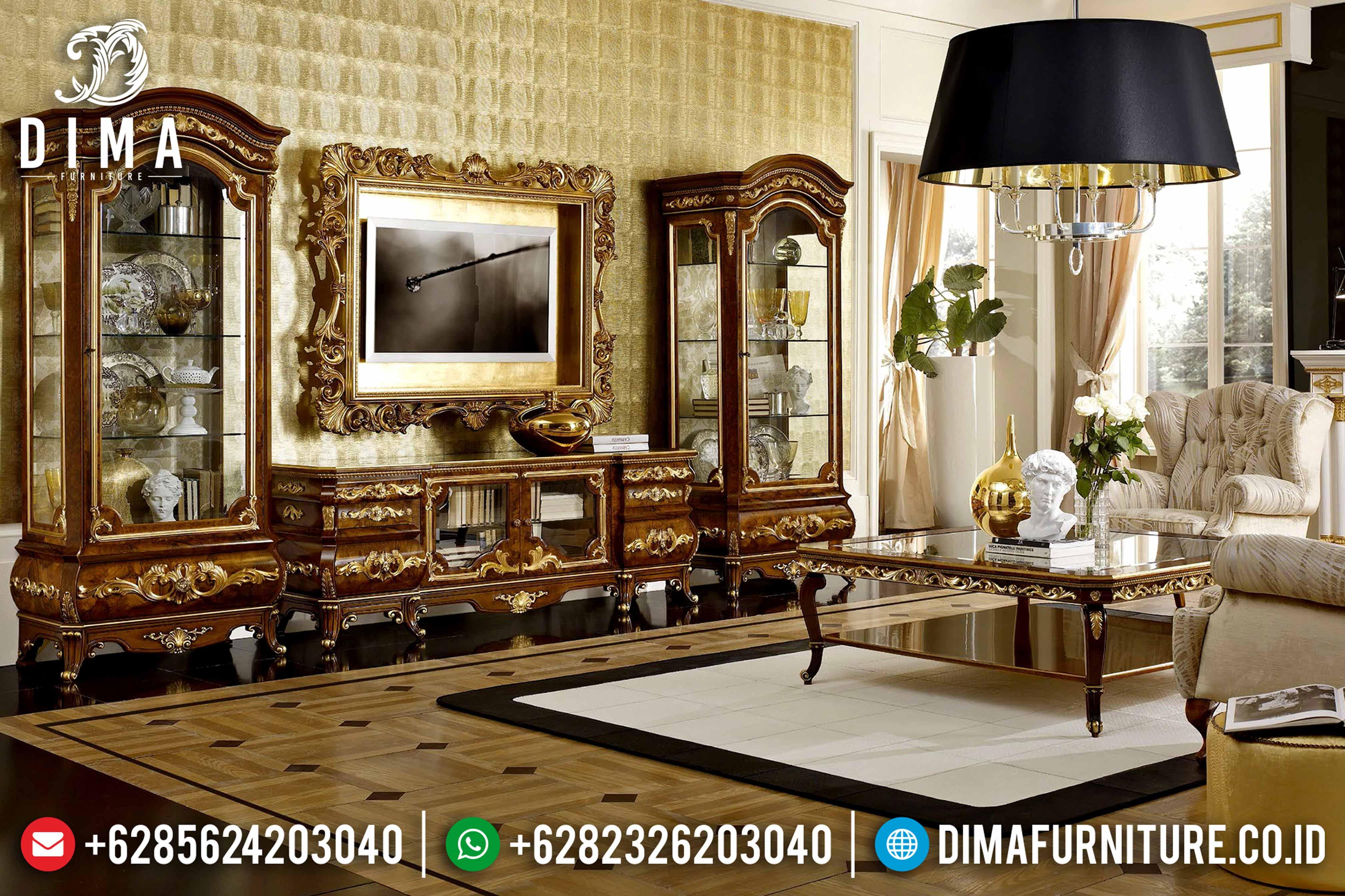 Set Bufet Tv Mewah Ukir Jati Natural Klasik Terbaru MM-0528
