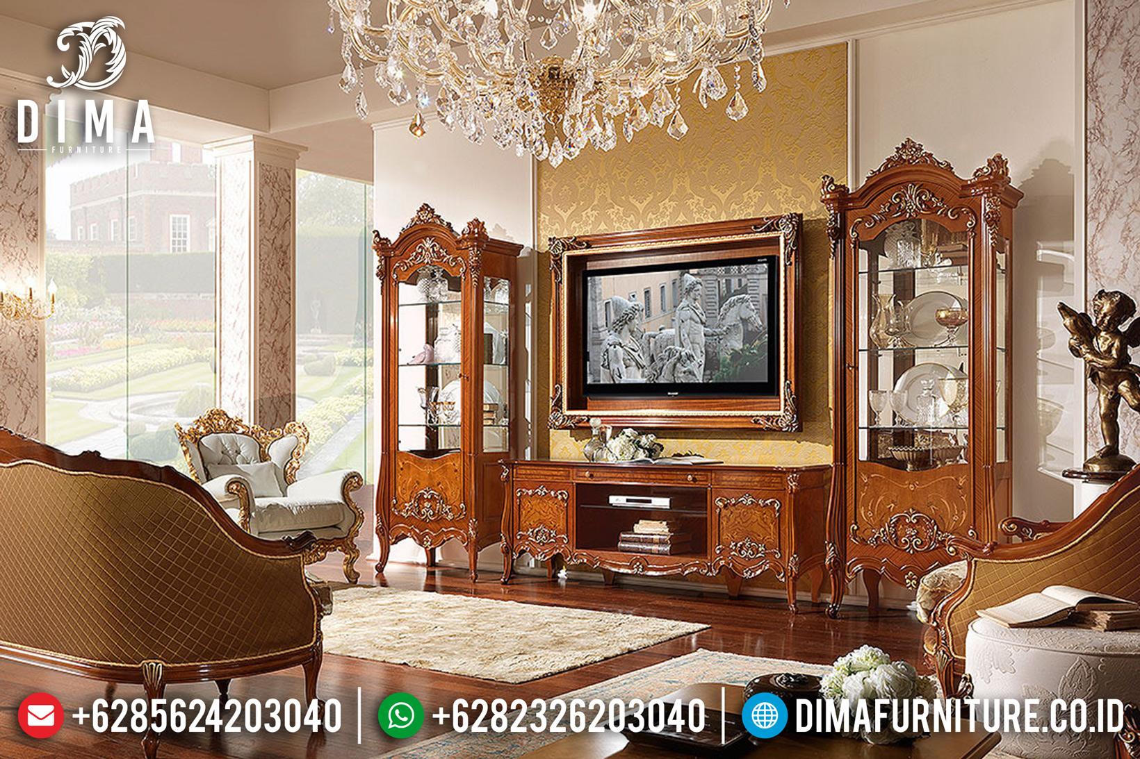 Set Bufet Tv Ukir Jepara Mewah Jati Klasik Terbaru MM-0533