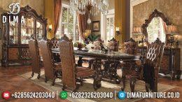 Set Meja Kursi Makan Jati Klasik Ukir Mewah Terbaru MM-0566