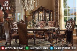 Set Meja Kursi Makan Jati Mewah Eropa Klasik Terbaru MM-0532