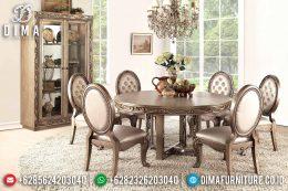 Set Meja Makan Jati Mewah Bundar Klasik Terbaru MM-0541