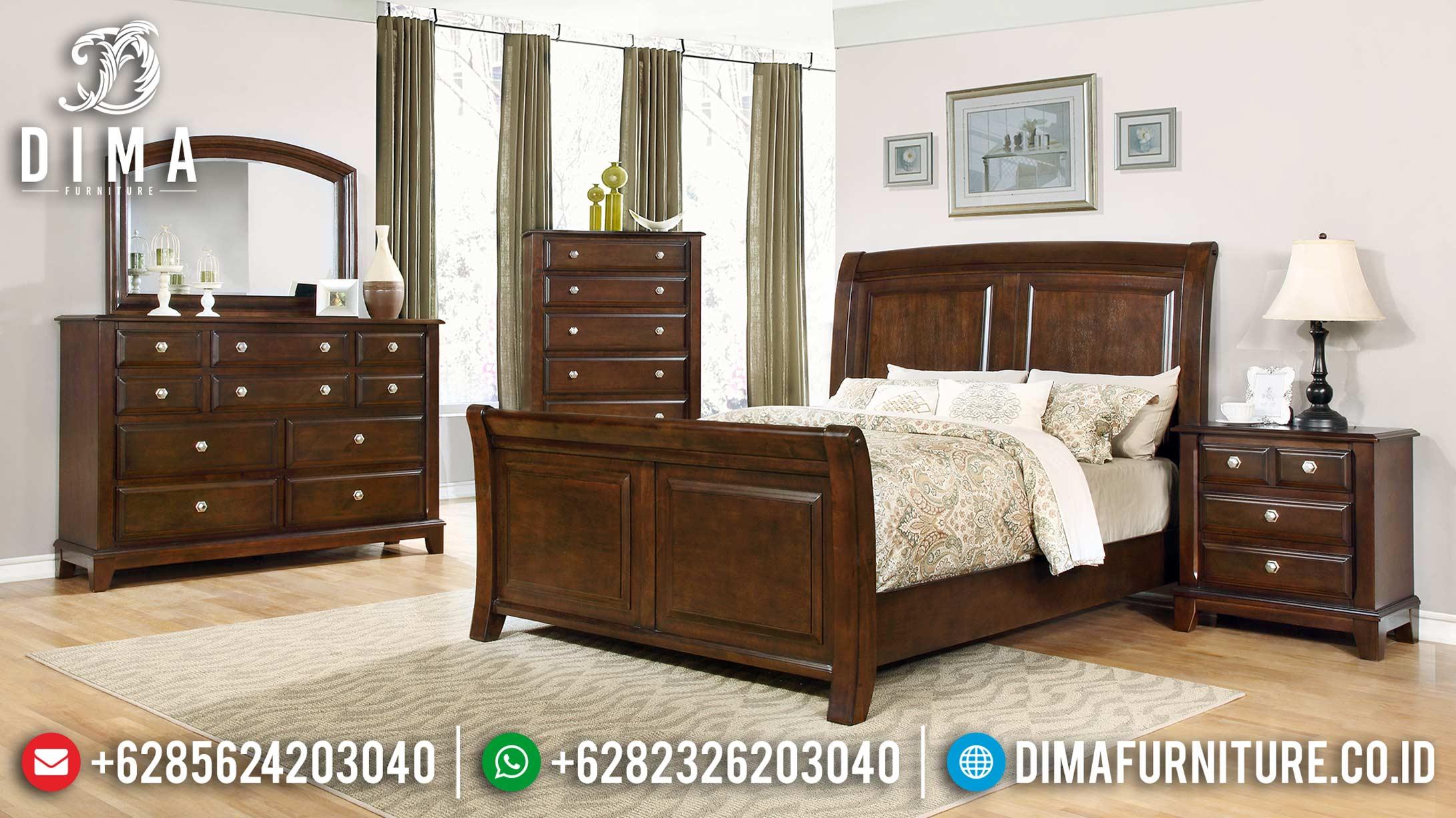 Set Tempat Tidur Minimalis Natural Jati Terbaru MM-0569