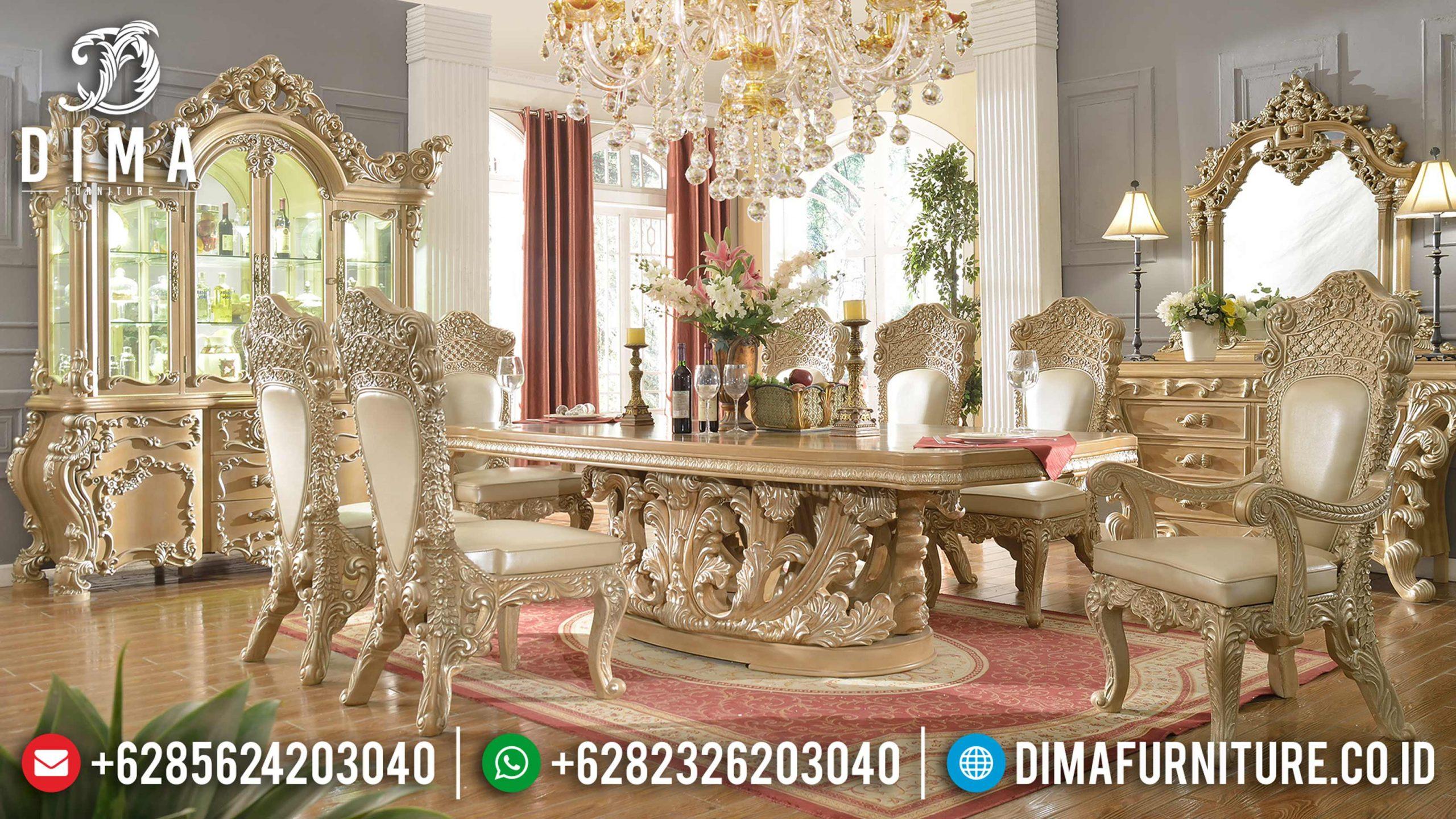 Set Meja Makan Klasik Mewah Ukir Jepara Terbaru Minerva Mm-0580