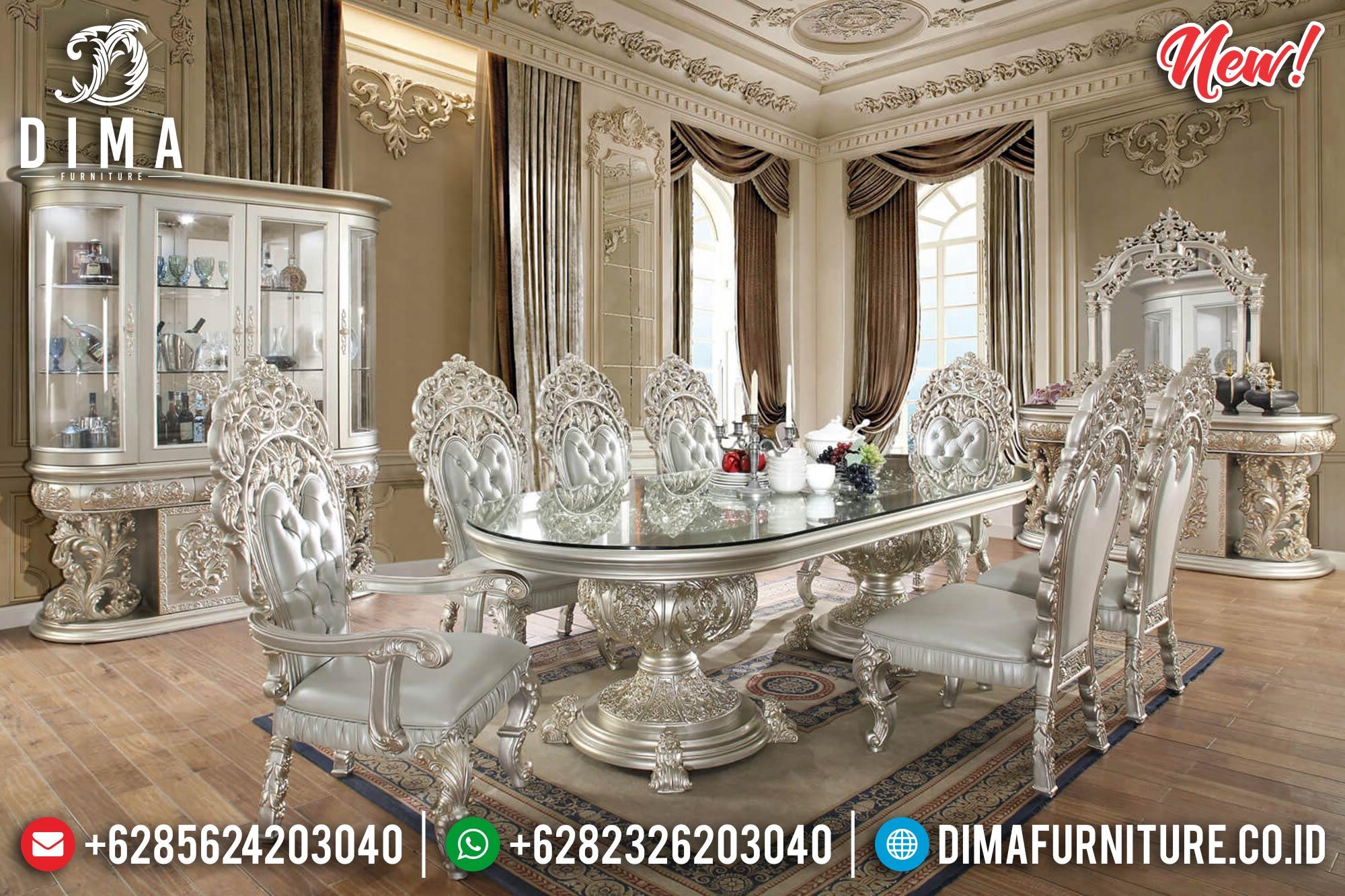 New Meja Makan Mewah Duco Silver Mutiara Mm-0617