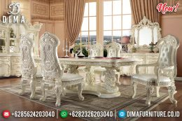 New Set Meja Makan Jepara Full Ornamen Ukir Ivory MM-0616