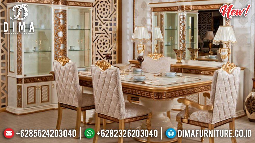 Set Meja Makan Mewah Jepara Gold Leaf New 2020 Mm-0602