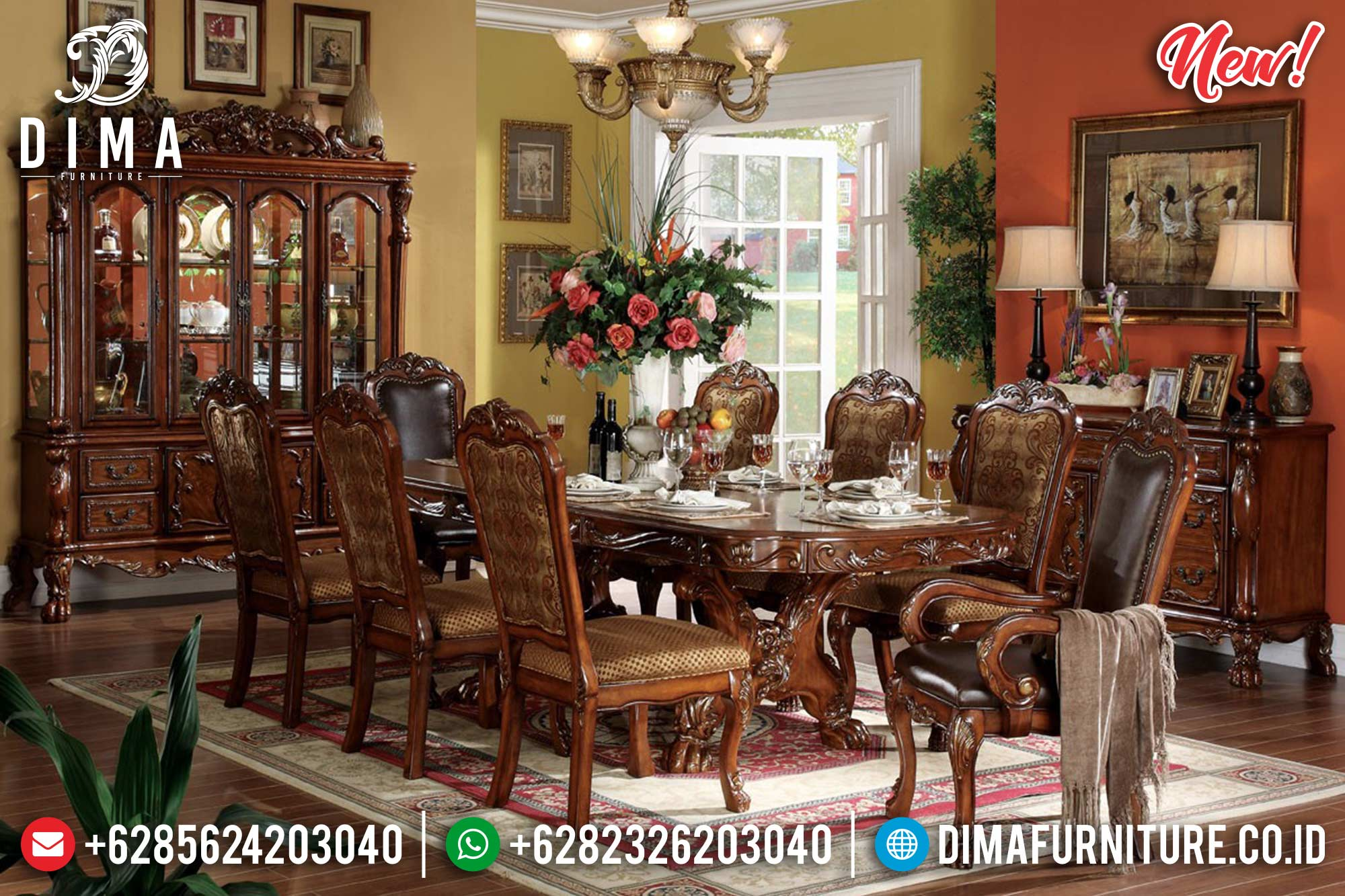 Terpopuler!!! Meja Makan Klasik Natural Luxury MM-0612