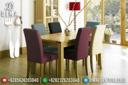 Harga Meja Makan Minimalis Jati Terbaru Fabric Colorful MM-0665