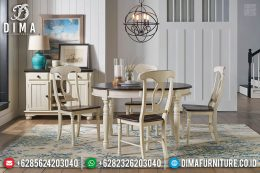 Meja Makan Bundar Jati Rustic Vintage French Style Furniture Jepara MM-0661