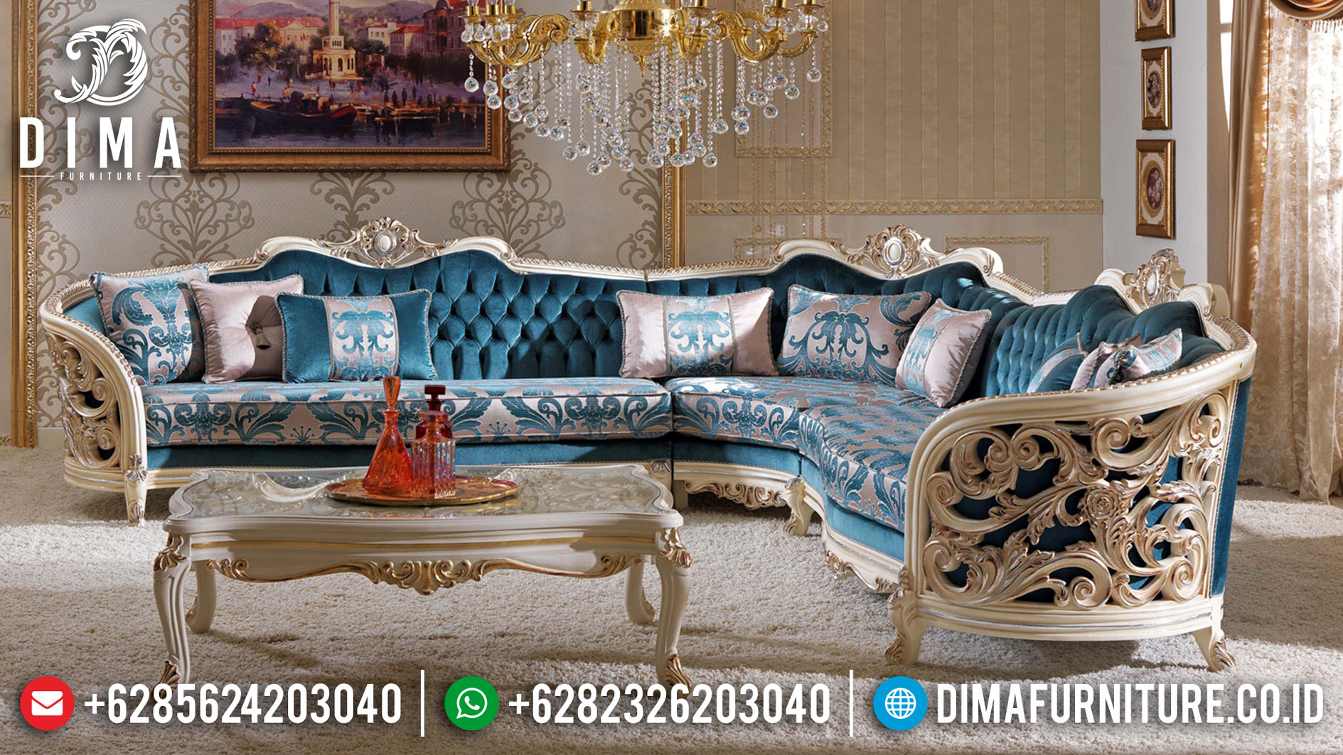 Best Price Sofa Tamu Mewah Carlotta Furniture Jepara Terbaru Mm-0691