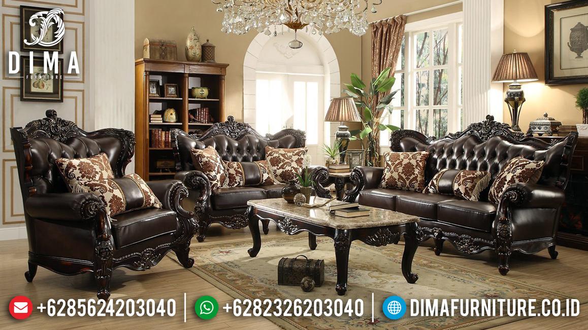 Sofa Tamu Mewah Kayu Jati Natural Classic Jepara Mm-0681