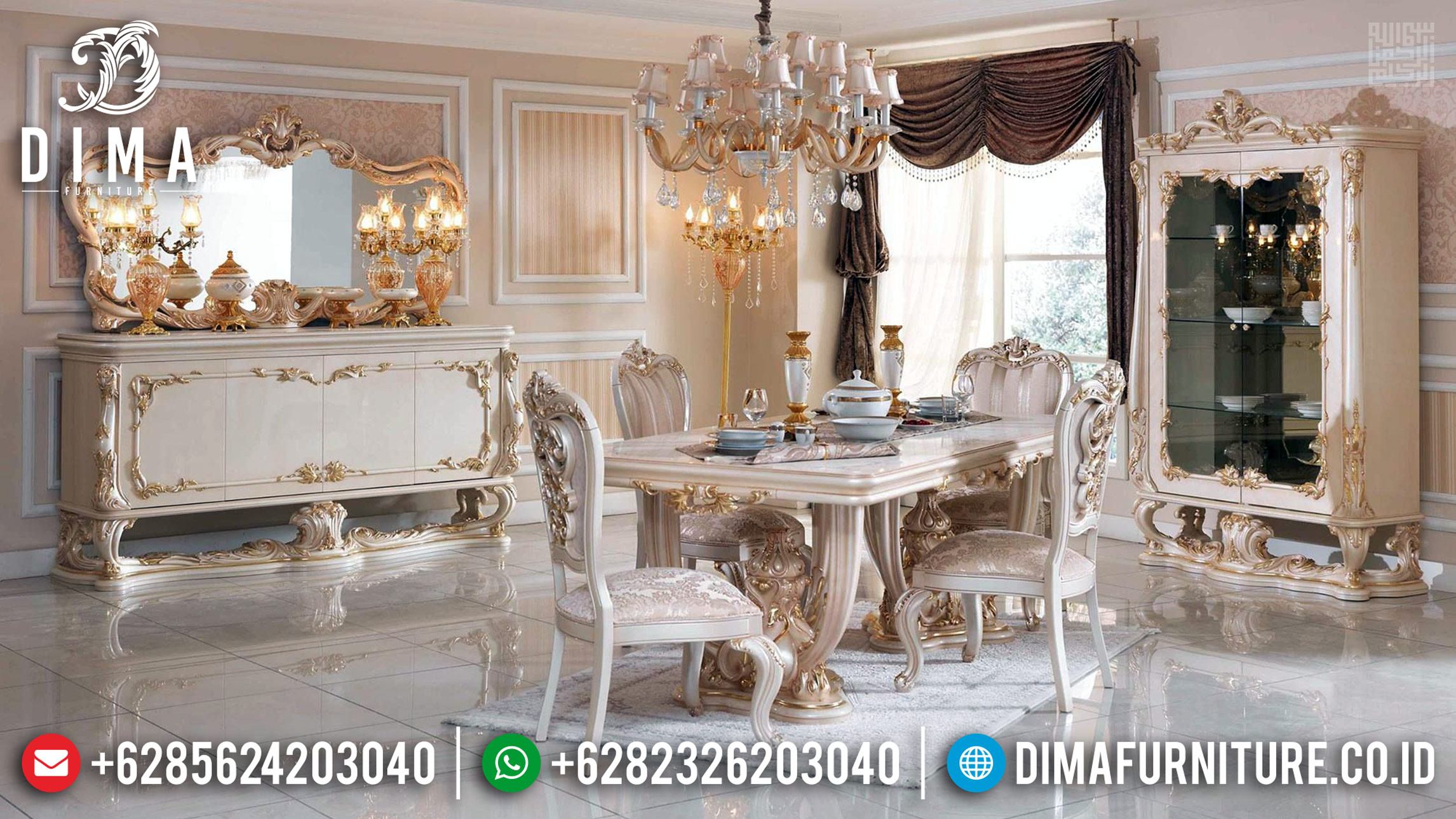 Artistik Design Meja Makan Mewah Jepara Ukiran Luxurian Turkish Mobilya Mm-0737