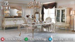 Desain Interior Meja Makan Mewah Jepara Ukiran Luxury Klasik White Ivory MM-0734