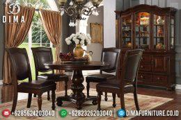 Desain Meja Makan Minimalis Bundar Kayu Jati Solid Natural Klasik Elegant Furniture Jepara MM-0729