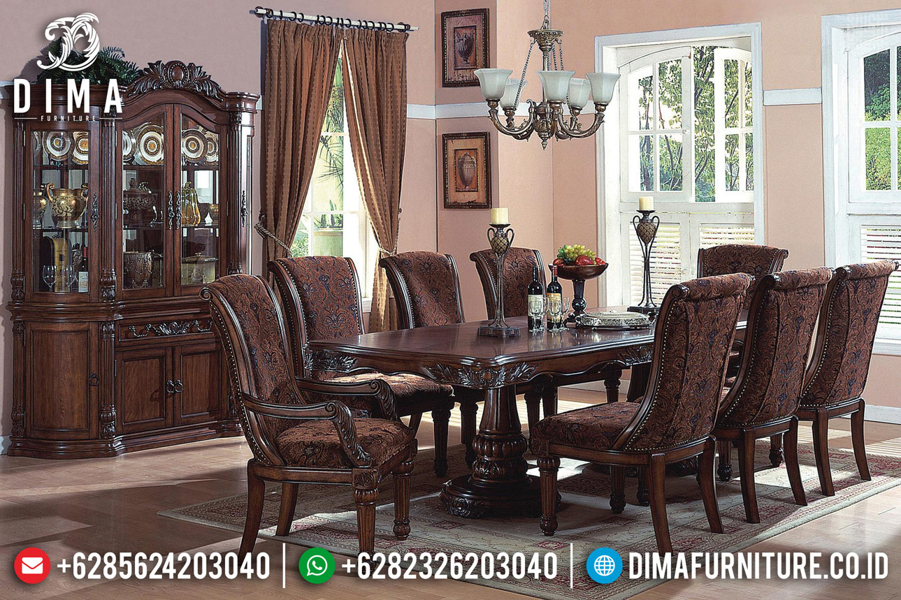 Desain Ruang Keluarga Set Meja Makan Minimalis Klasik Jati Natural Dark Brown Mm-0732
