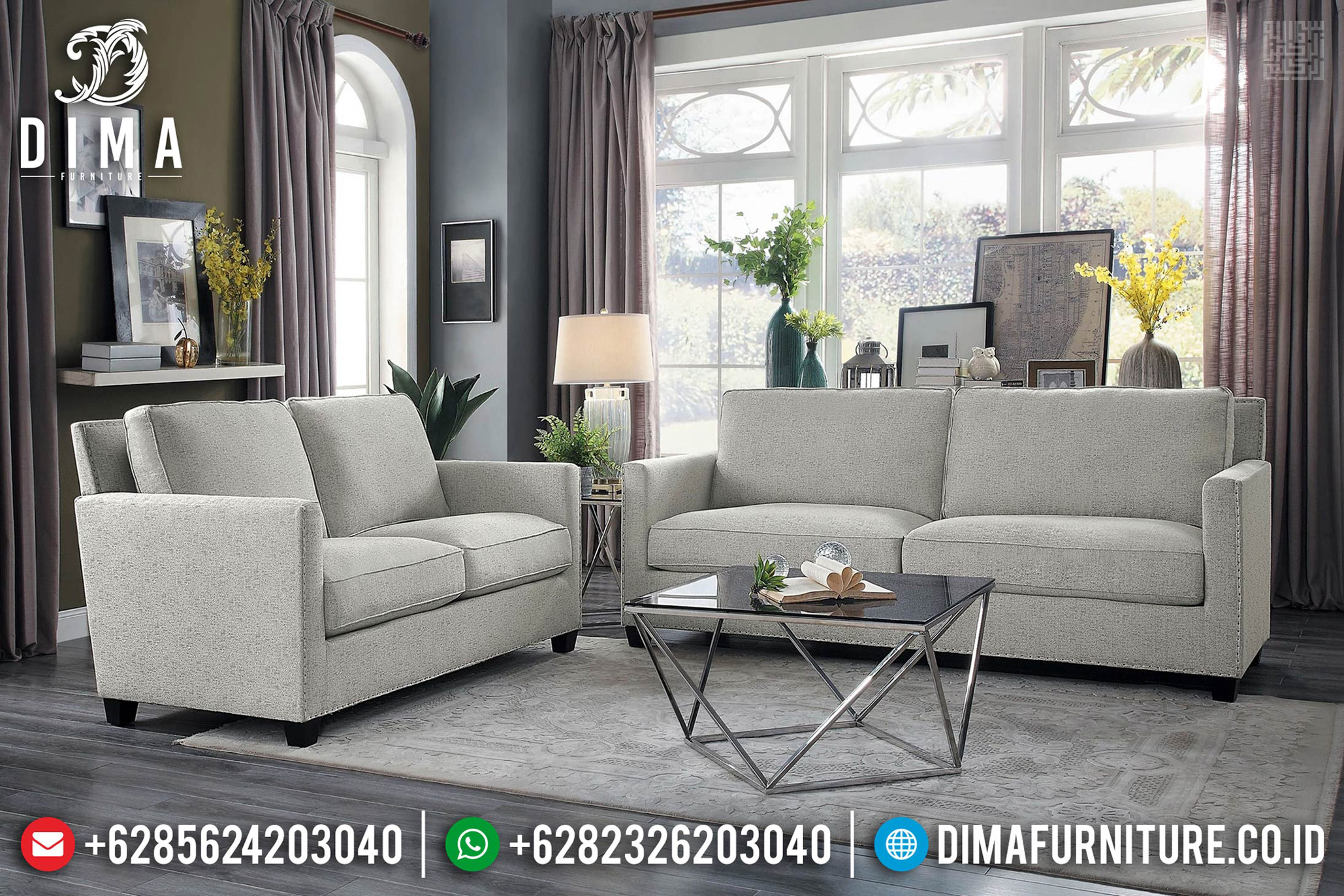 Desain Ruang Tamu Sofa Tamu Minimalis Modern Stainless New Model MM-0714