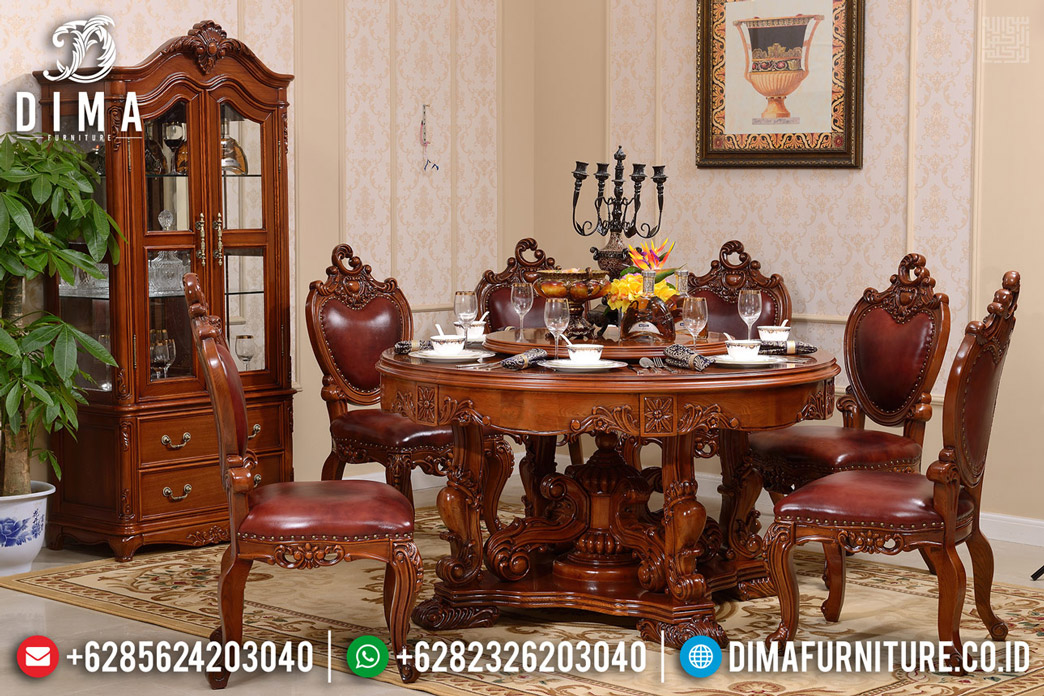 Great Solid Wood Meja Makan Jati Minimalis Classic Natural Roses Brown Color Mm-0731
