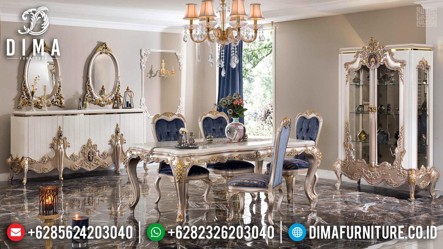 Harga Meja Makan Mewah Ukiran Luxury Klasik Silver Champagne Duco Combination Mm-0700