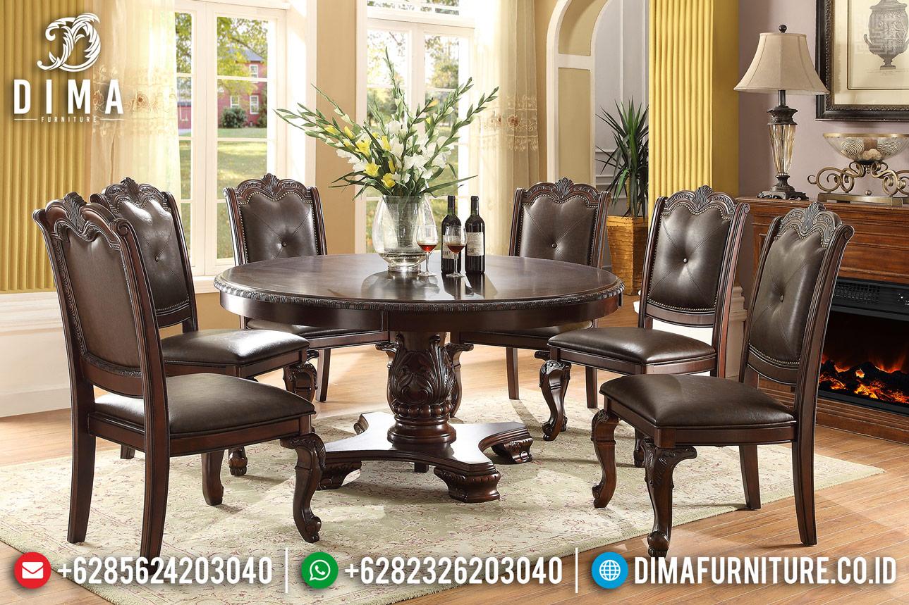 Harga Meja Makan Minimalis Klasik Natural Amber Color Furniture Jepara Antique Mm-0730