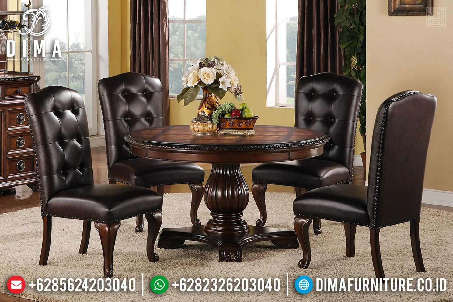 Jual Meja Makan Minimalis Jati Versailles Oscar Leather Klasik Furniture MM-0726