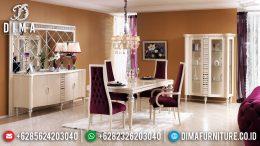 Meja Makan Ukiran Jepara Luxury Classic White Duco Ivory Combine MM-0699