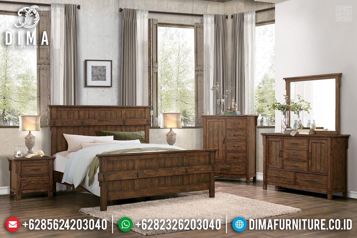 New Dipan Set Tempat Tidur Minimalis Klasik Jati Natural Salak Brown Mm-0724