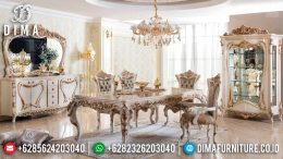New Models Meja Makan Mewah Ukiran Jepara Luxurious Golden Carving Combination MM-0739