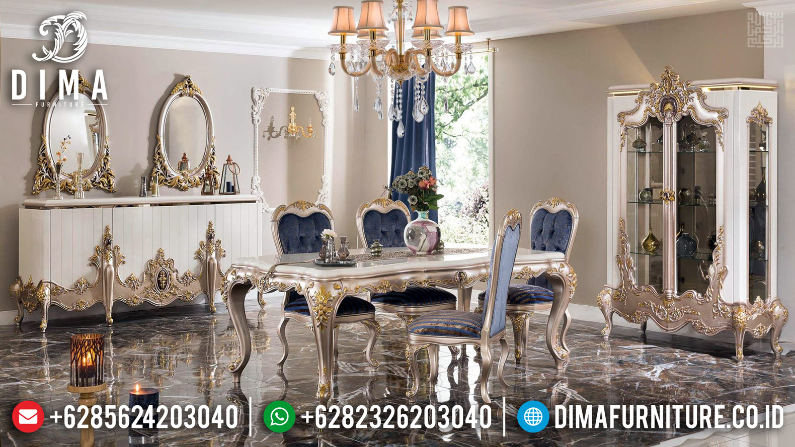 New Set Meja Makan Mewah Jepara Silver Champagne Glossy Color Luxury Classic Mm-0744