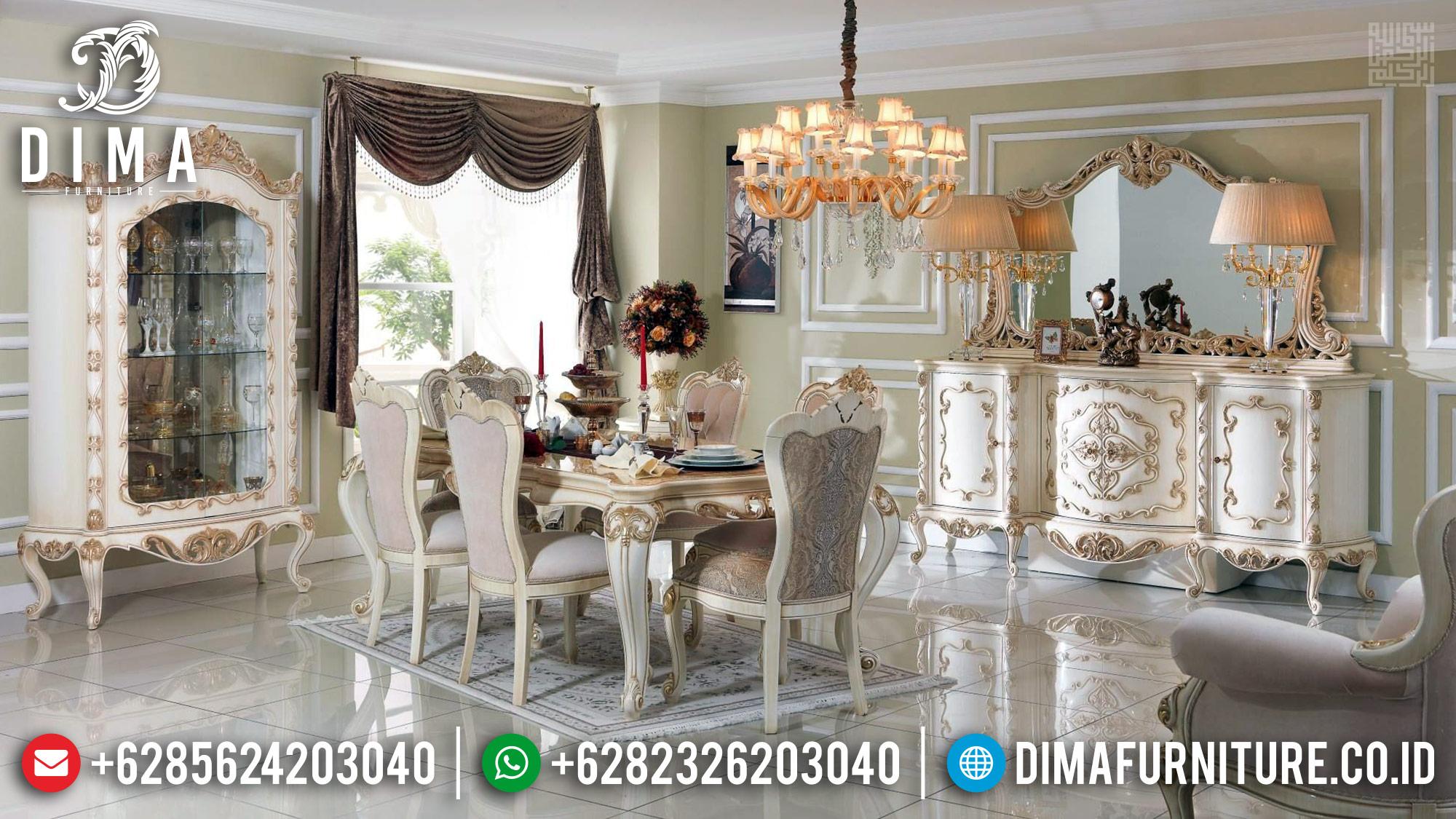 Set Meja Makan Ukiran Jepara Luxury Carving Desain Mewah Gaya Kerajaan MM-0735