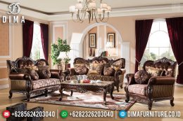 Set Sofa Tamu Klasik Jepara Ukiran Jati New Natural Dark Brown Glossy MM-0717