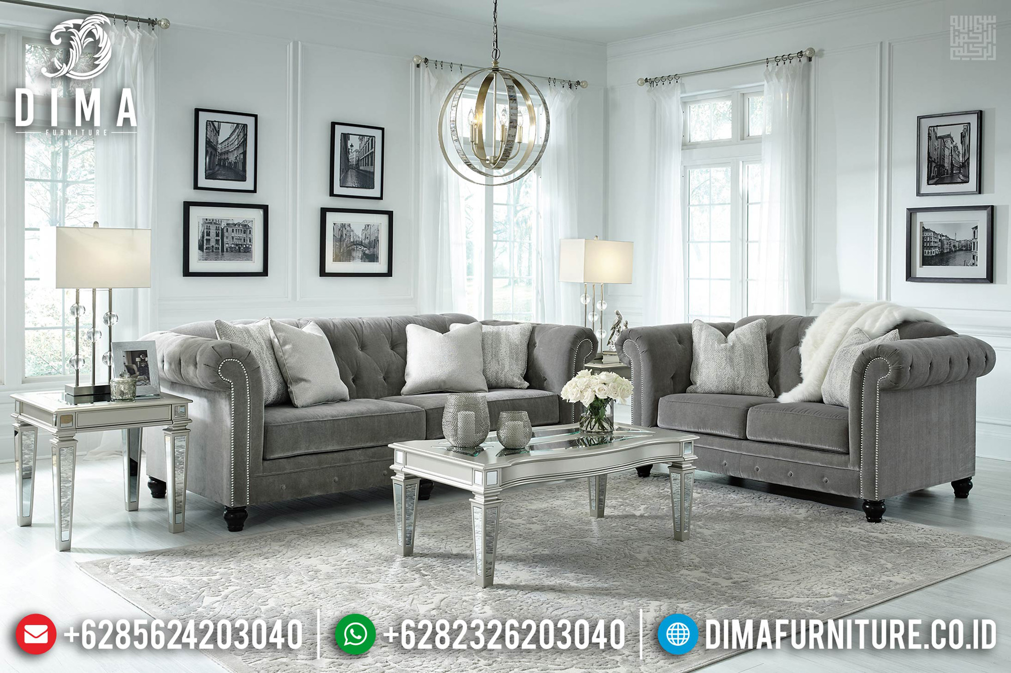 Set Sofa Tamu Minimalis Modern Kayu Jati Perhutani Furniture Jepara Mm-0709