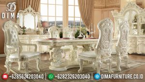 Art Deco Meja Makan Mewah 6 Kursi Luxury Carving White Duco Glossy MM-0751