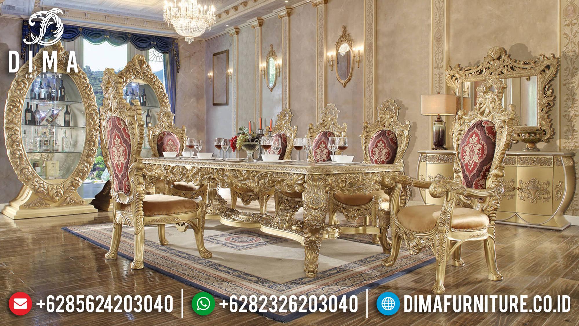 New Meja Makan Mewah Jepara Luxury Classic Golden Gloss Furniture Royal Mm-0759