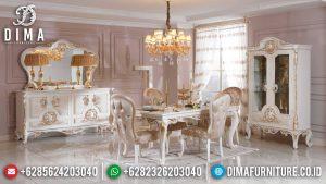 Queen Set Meja Makan Mewah Classic Luxury Jepara Mebel Terbaru MM-0762