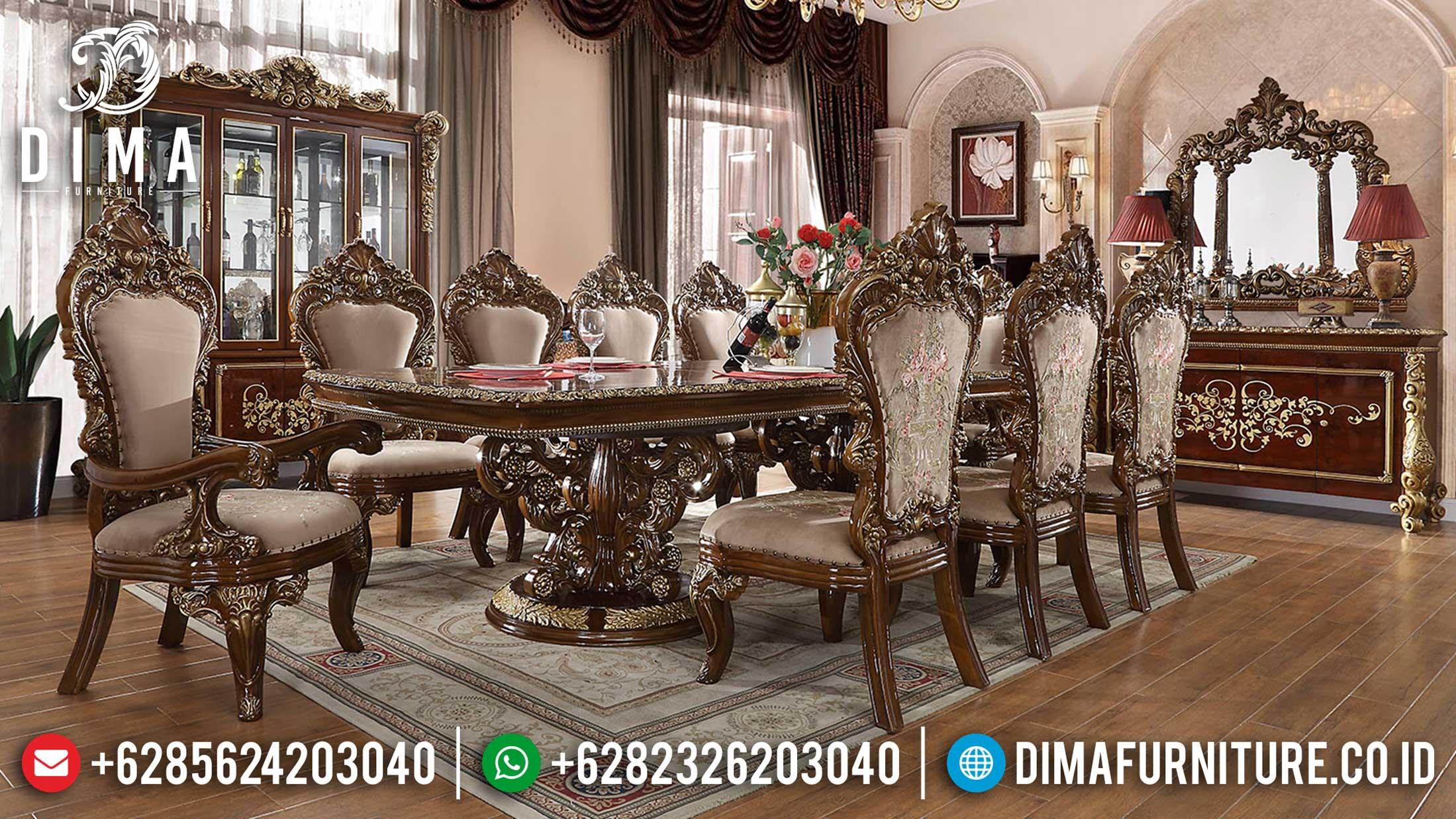 Set Meja Makan Mewah Jati Natural Salak Luxury Carving Mebel Jepara Terbaru Mm-0752