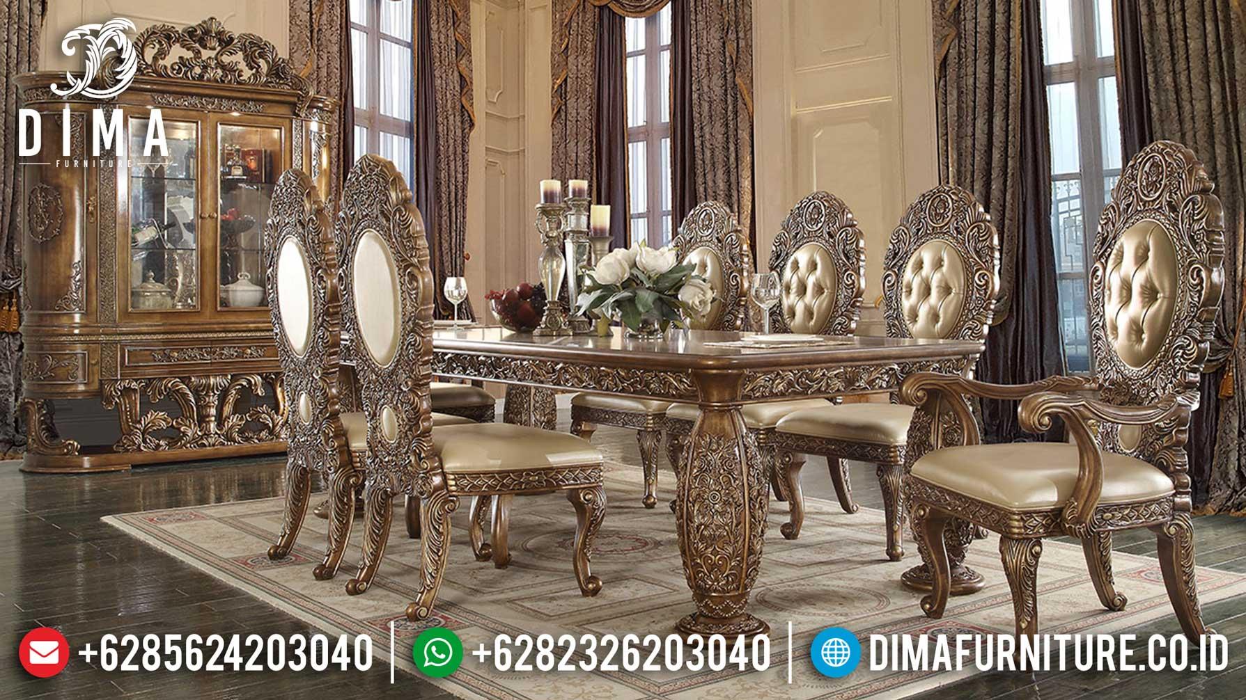 Set Meja Makan Mewah Jepara Luxury Classic New Design Inspiring Mm-0764