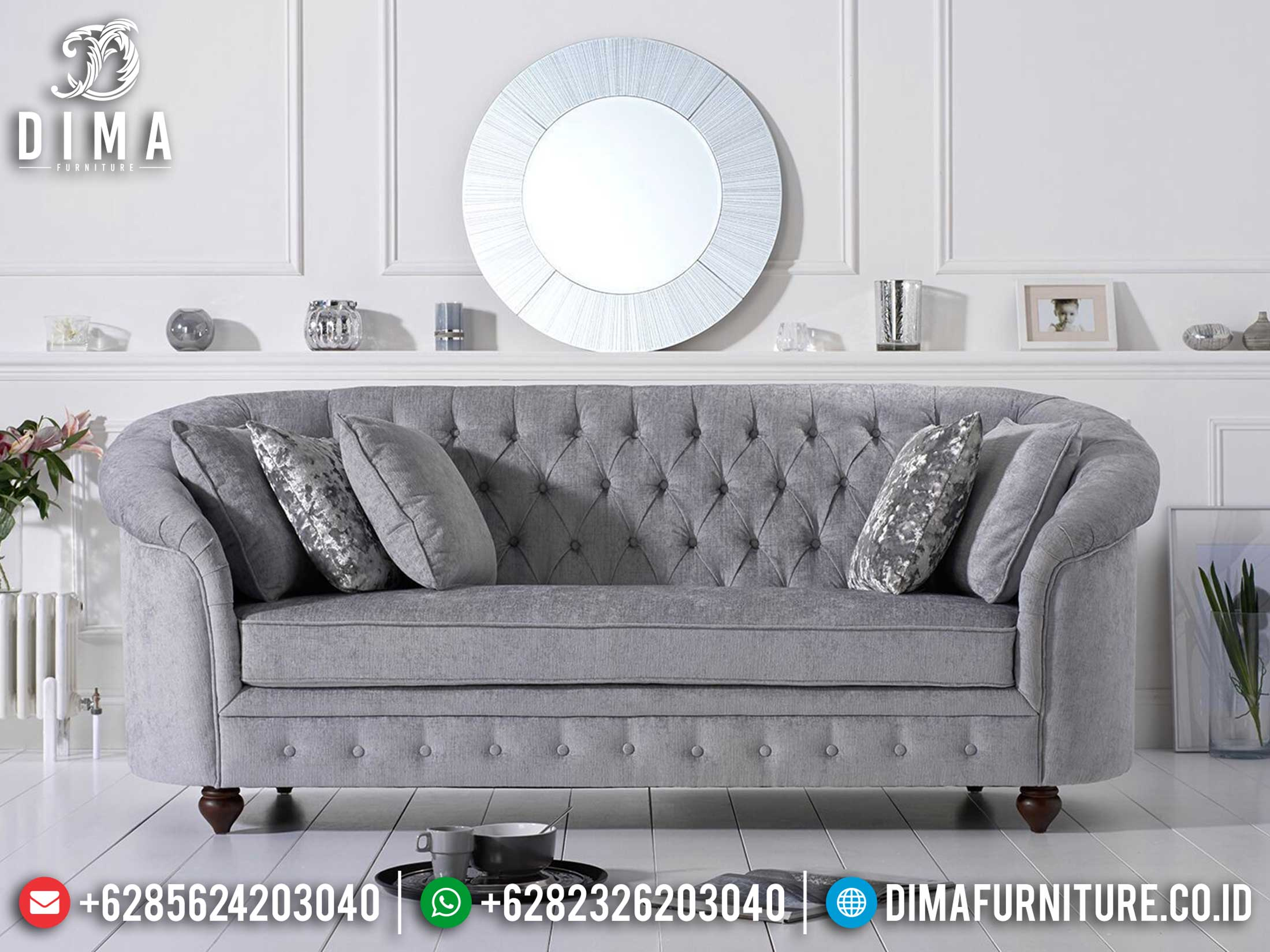 Sofa Tamu Minimalis 3 Dudukan Great Fabric Beludru New Year Update Mm-0745