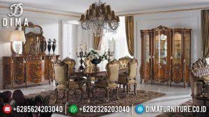 Vania Meja Makan Mewah Kursi 6 Natural Jati Luxury Classic Jepara MM-0767