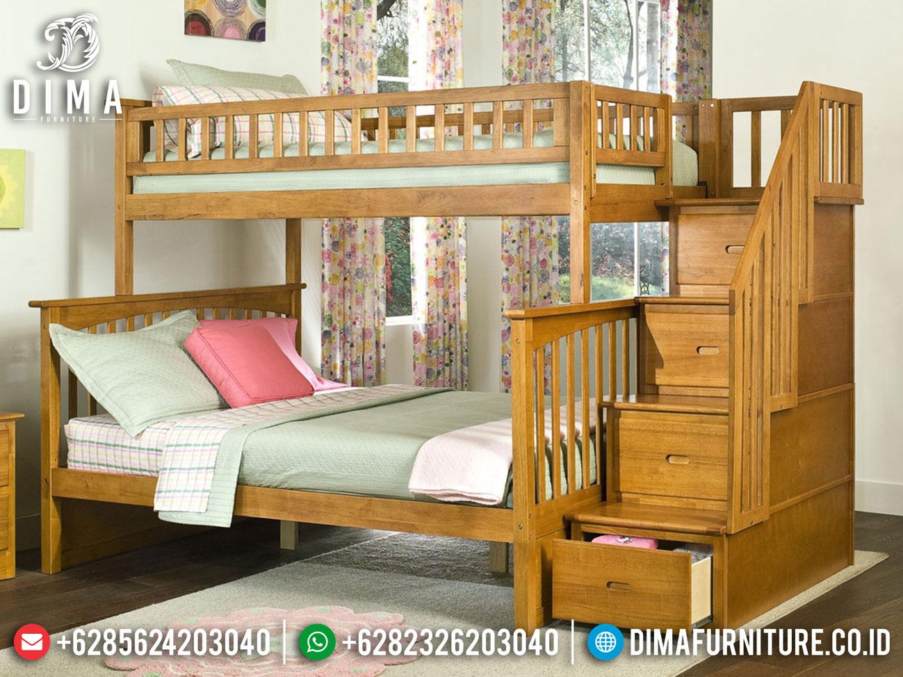 Best Seller Tempat Tidur Anak Tingkat Natural Minimalis Jati Jepara MM-0835