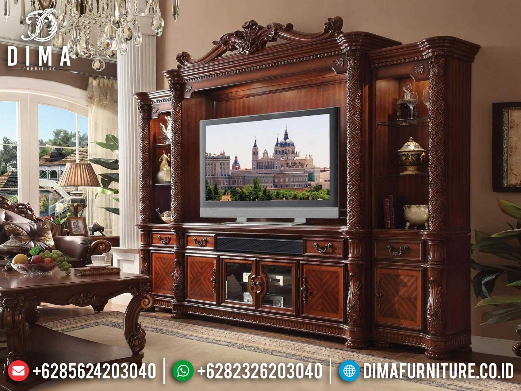 Bufet TV Mewah Kayu Jati Natural Salak Brown Luxury Carving Jepara MM-0780