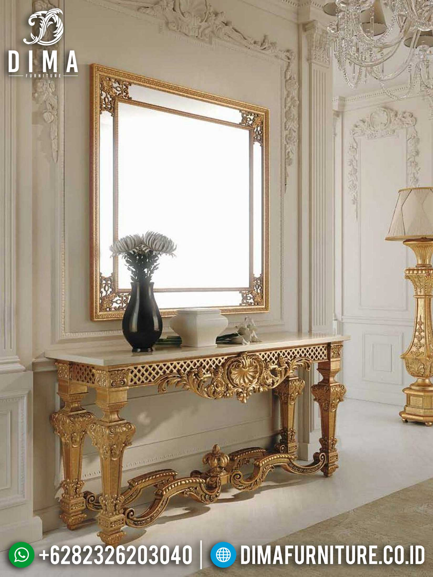 Classic Luxury Meja Konsol Mewah Ukir Jepara Golden Light Glossy New Mebel Jepara Mm-0804