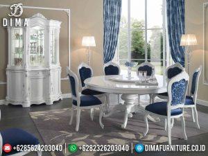 Classic Meja Makan Minimalis Bundar 8 Kursi White Duco Luxury MM-0819